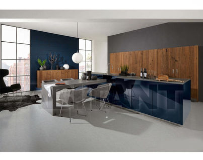 Kitchen Fixtures Nolte Kuechen OPEN PLAN KITCHENS Legno Oak Truffle/ Nova  Lack Deep Blue