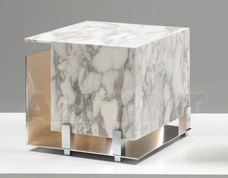 Cubo White Marble Small Table Lamp by